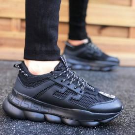 Pantofi sport barbati, negri, talpa inalta si foarte usoara, model casual, ISAHAR