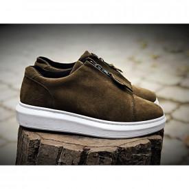Pantofi sport kaki, cu fermoar si talpa inalta, aspect catifea