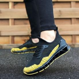 Pantofi sport negri, cu siret si talpa flexibila modulara, confectionati din material textil