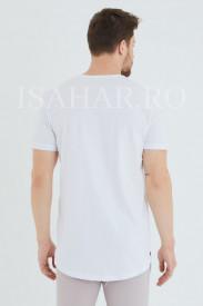 Tricou barbati simplu, alb, BREEZY, material premium , ISAHAR