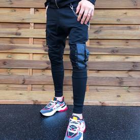 Pantaloni barbati negri, cu buzunare laterale aplicate