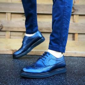 Pantofi barbati albastri, foarte usori si comozi, din PIELE NATURALA