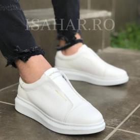 Pantofi sport barbati, albi, fara siret, ISAHAR