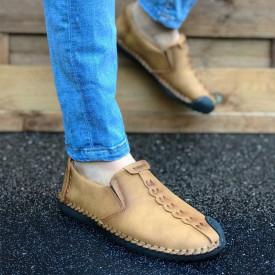 Pantofi sport barbati, maro, fara siret, piele ecologica