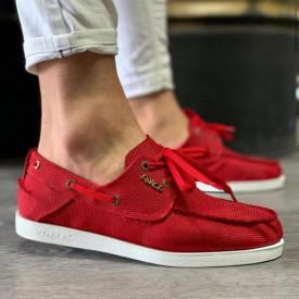 Pantofi sport barbati, rosii, din material textil, ISAHAR