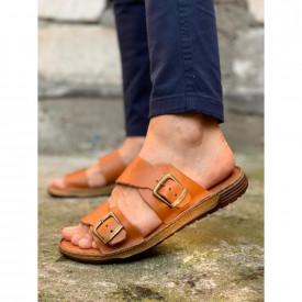Papuci barbati, maro, cu catarama, din PIELE NATURALA, ISAHAR