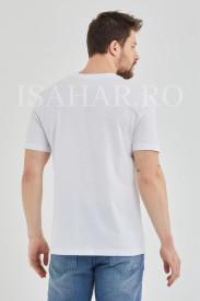 Tricou barbati, alb, model casual BREEZY, material premium , ISAHAR