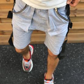 Pantaloni scurti barbati, gri, buzunare cu fermoar, ISAHAR