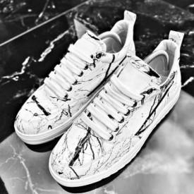 Pantofi sport albi, model premium, interior bumbac , ISAHAR
