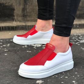Pantofi sport barbati, albi, cu aplicatii rosii, ISAHAR