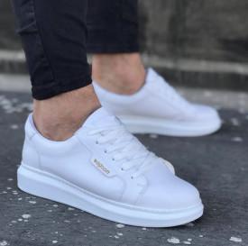 Pantofi sport barbati, clasici, casual, albi, talpa inalta din spuma, ISAHAR