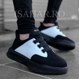 Pantofi sport barbati, negri cu aplicatii albe, fara siret, casual, ISAHAR