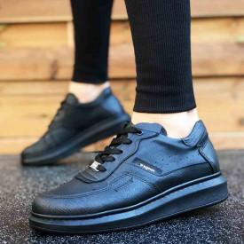Pantofi sport barbati, negri, cu talpa inalta din spuma, ISAHAR