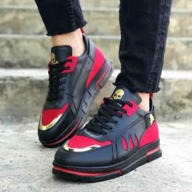 Pantofi sport negri, interior antitranspiratie, model premium VRS, cu aplicatii rosii, ISAHAR
