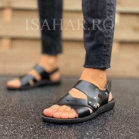 Sandale barbati casual, negre, model casual, ISAHAR
