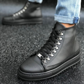 Ghete barbati casual negre cusute, confectionate din piele ecologica, usoare, model casual