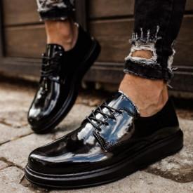 Pantofi casual barbati, negri, confortabili, inchidere cu siret, ISAHAR