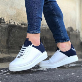 Pantofi sport barbati casual albi, cu siret si talpa inalta din spuma