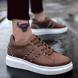 Pantofi sport barbati maro, cu aplicatii metalice, talpa din spuma, model premium, Isahar