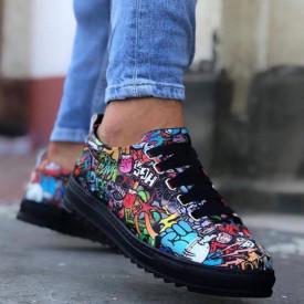 Pantofi sport barbati negri, cu imprimeu multicolor, foarte usori, talpa antiderapanta