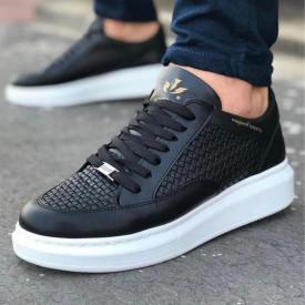 Pantofi sport barbati, negri cu talpa alba, din piele ecologica, ISAHAR