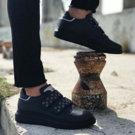 Pantofi sport barbati, negri, inchidere arici SNK, ISAHAR