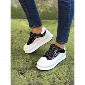 Pantofi sport dama, albi cu paiete negre