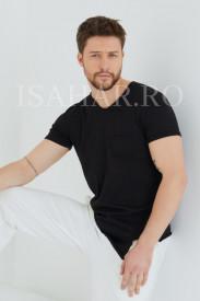 Tricou barbati , negru, simplu, model BREEZY premium, ISAHAR