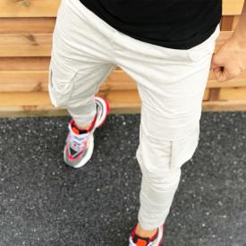 Pantaloni barbati casual gri, conici, cu buzunare laterale aplicate
