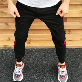 Pantaloni barbati casual negri, conici, cu dungi laterale rosii