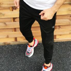 Pantaloni barbati casual negri, conici, cu dungi laterale