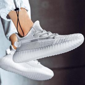 Pantofi sport barbati, albi, cu interior confortabil