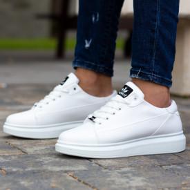 Pantofi sport barbati casual albi, premium, talpa inalta din spuma, Isahar