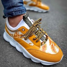 Pantofi sport barbati, comozi, albi cu aplicatii galbene, ISAHAR