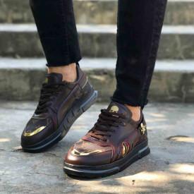 Pantofi sport barbati maro,model premium VRS, cu aplicatii aurii, ISAHAR