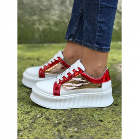Pantofi sport dama, albi, cu talpa inalta