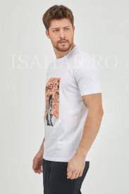 Tricou alb barbati BREEZY din bumbac, model casual premium, Isahar