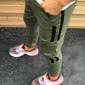 Pantaloni barbati, kaki, cu dungi laterale negre, ISAHAR