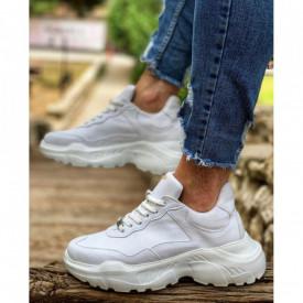 Pantofi sport albi, casual, cu talpa inalta din spuma