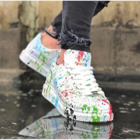 Pantofi sport albi, cu imprimeu colorat, talpa inalta si cusuta, ISAHAR