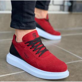 Pantofi sport barbati, rosii, cu talpa inalta din spuma