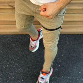 Pantaloni sport barbati, bej, cambrati, ISAHAR