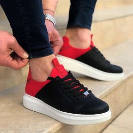 Pantofi sport barbati casual negri, cu siret si talpa inalta din spuma