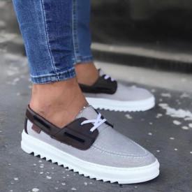 Pantofi sport barbati, gri, model casual, ISAHAR