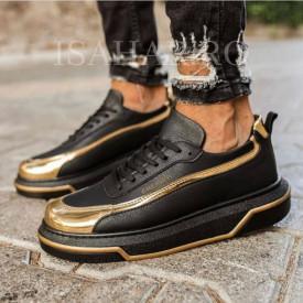 Pantofi sport barbati, model casual, negri, cu aplicatii aurii, ISAHAR