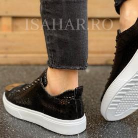 Pantofi sport barbati, negri, cu aplicatii stralucitoare, pentru evenimente, ISAHAR