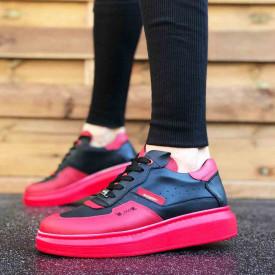 Pantofi sport barbati, negri, cu talpa rosie din spuma, ISAHAR