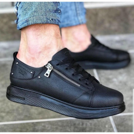 Pantofi sport barbati, negri, inchidere siret, cu fermoar decorativ, ISAHAR