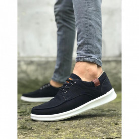 Pantofi sport casual negri, cu siret si talpa din spuma