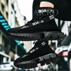Pantofi sport negri, din material textil, usori si comozi, ISAHAR